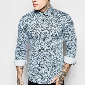 ASOS Skinny Denim Shirt in Leopard Print